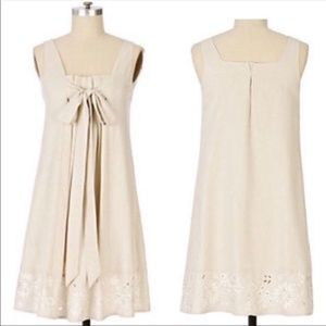 Ranna Gill Ice Memory Eyelet Cream Bow Mini Dress